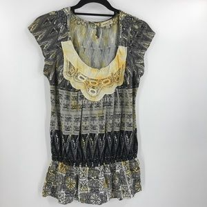 3/$25 One World Chain Embroidered Drop Waist Top